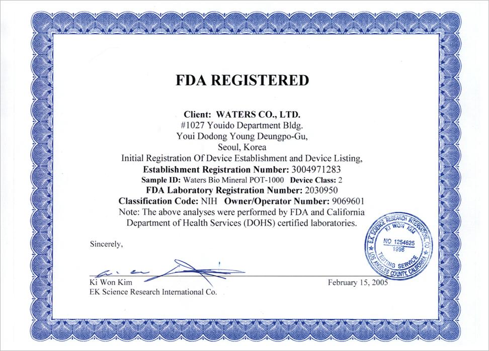 Certyfikat FDA